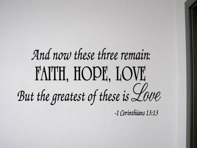 faith hope love corinthians wall quote decal scripture