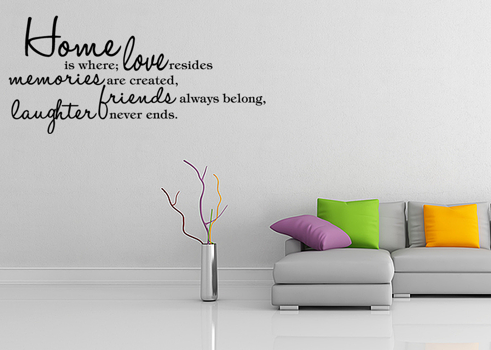 HOME IS WHERE LOVE RESIDES Vinyl Wall Quote Decal Word