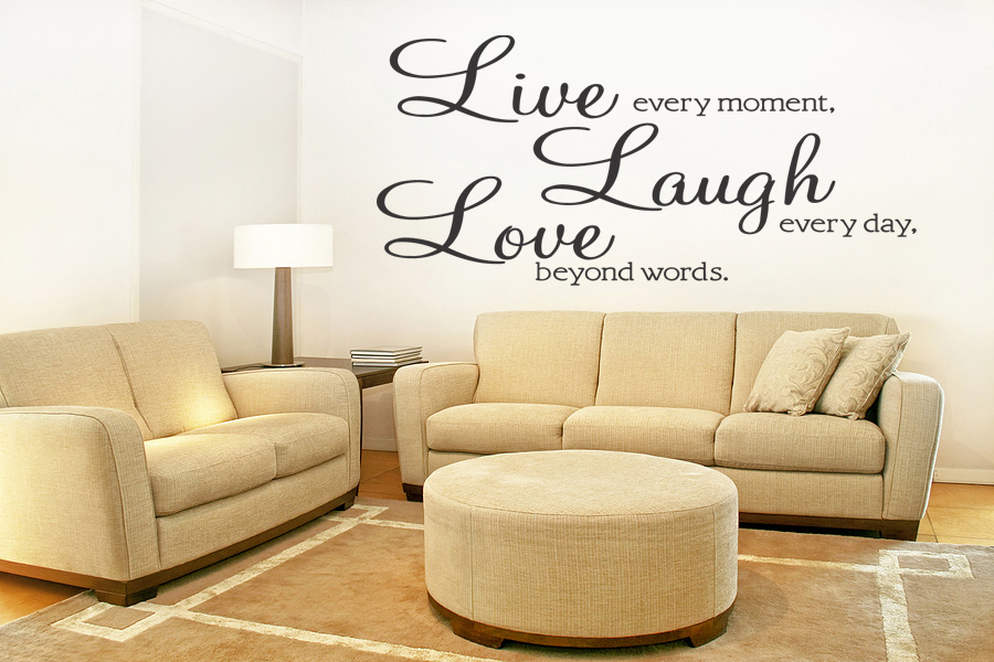Removable Wall Art Decals Quotes : Live laugh love removable wall quote decal sticker