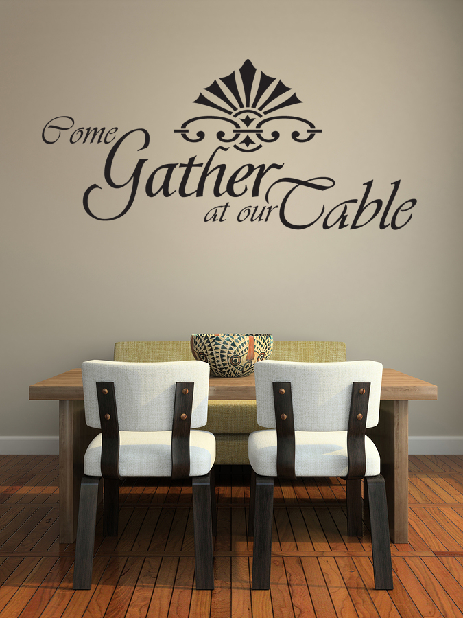 Come gather at our table wall decal dining room wall art for Dining room wall art stickers