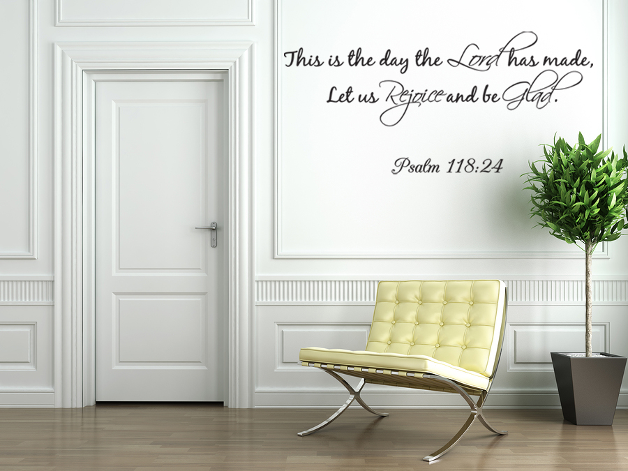 this is the day the lord wall decals quotes religious psalm 118 24 bible j263 ebay. Black Bedroom Furniture Sets. Home Design Ideas