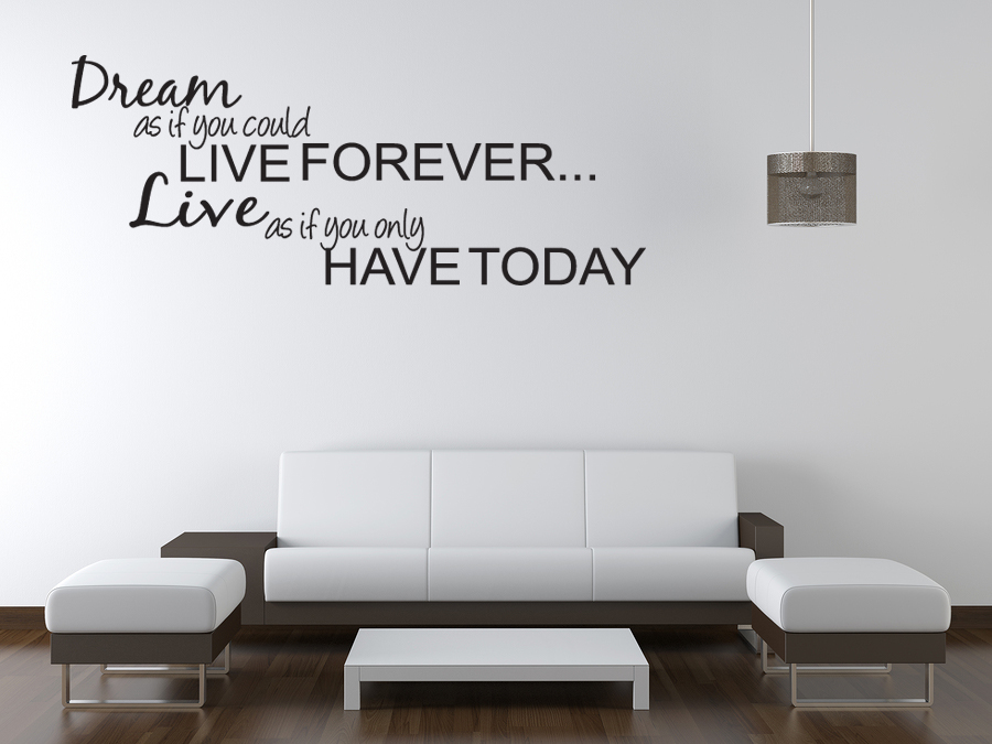 Dream live girls teen bedroom vinyl wall quote art decal for Bedroom wall decals