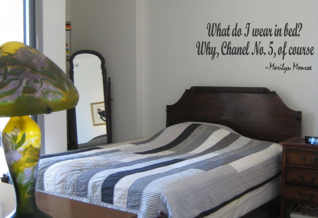 What do I Wear in Bed Wall Quote Decal Marilyn Monroe Bedroom Decor Lettering